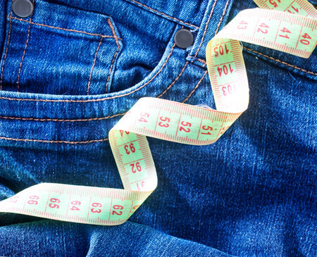 Jeans and green centimeter, jeans , jeans texture