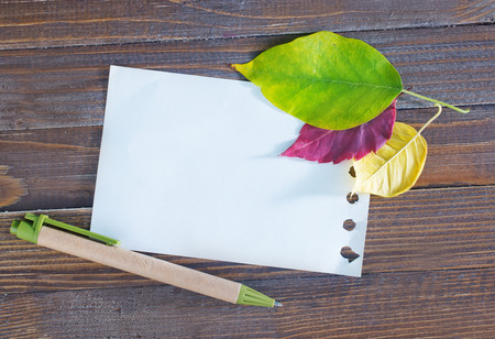 autumn leaves on the wooden background,yellow leaves and notepad photo