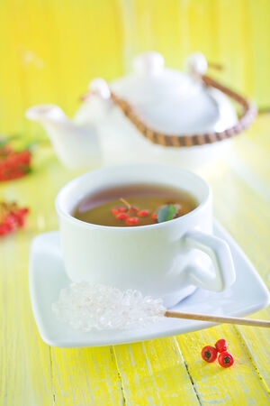 salubrious: fresh tea in cup and on a table