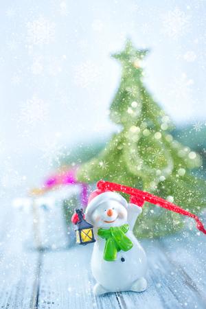 christmas decoration and christmas tree on a table