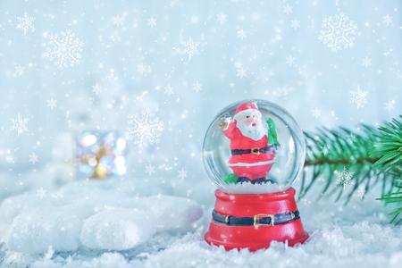 christmas decoration on the snow, christmas background