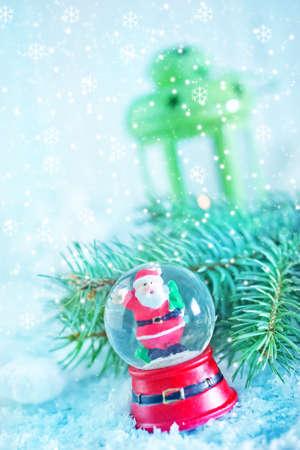 Santa Claus on snow, christmas decoration on snow