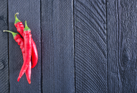 black boards: chilli peppers on the wooden black boards