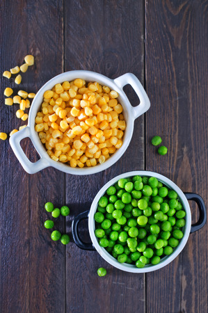 canned peas: sweet corn and green peas in bowl