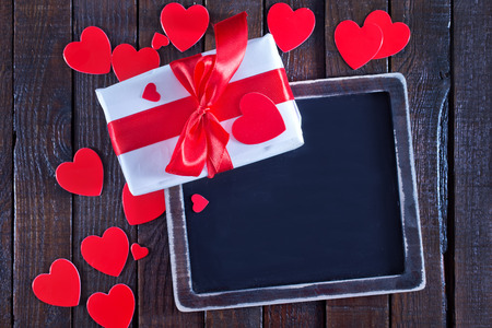 colorful background for Valentines day, present on a table photo