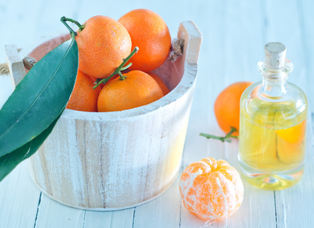 beauty care: Tangerine essential oil on the white table