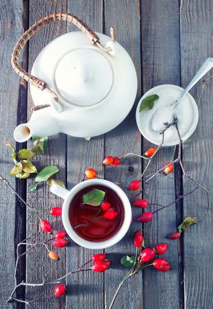 fresh tea with rosehip on a table Reklamní fotografie