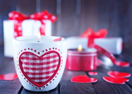 backgrounf for valentines day, candle on a table photo