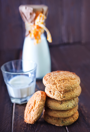 second breakfast: sweet cookies and milk in glass on a table
