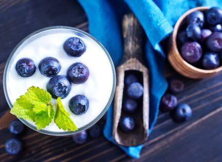 lactic: yogurt with blueberry Stock Photo