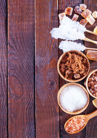 white sugar: different kind of sugar on a table Stock Photo
