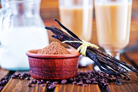 cocoa powder in bowl and on a table photo