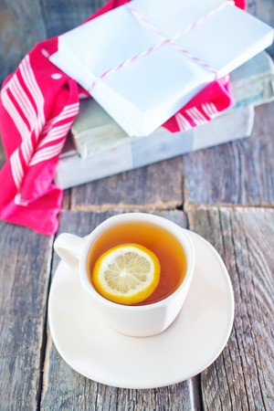 tea with lemon in cup photo