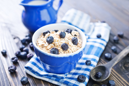 oat flakes with blueberry in the bowl photo