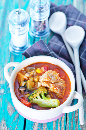 brocoli: vegetables with meat and tomato sauce in the bowl Stock Photo
