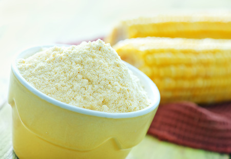 mealie: corn flour in bowl and on a table