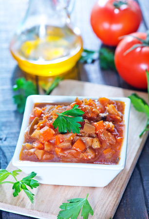 tomato catsup: vegetables with tomato sauce in the bowl Stock Photo