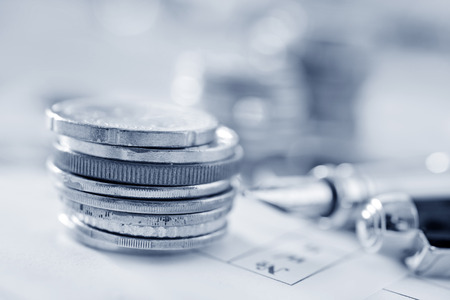 gb pound: American dollars, a bundle of money on the table Stock Photo