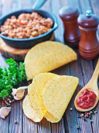 corn tortilla: Tacos - in mexican yellow corn tortilla , empty tortilla Stock Photo