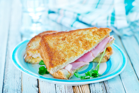 sandwiches with ham and fresh tomato on plate Фото со стока