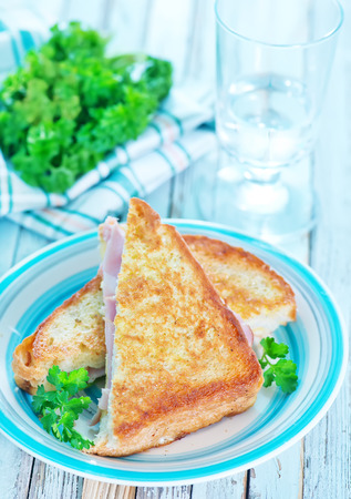 sandwiches with ham and fresh tomato on plate photo