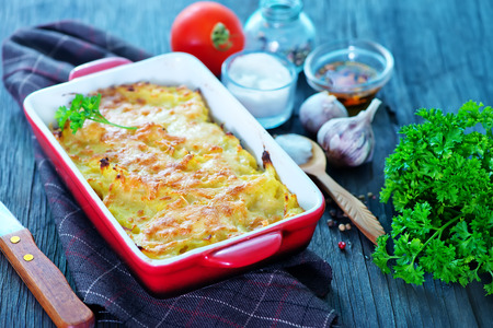 potato gratin with cheese on a table