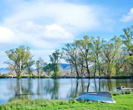 lake in Crimea, spring nature in Crimea