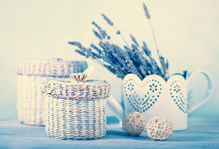 bouquet of lavender on a white wooden table photo