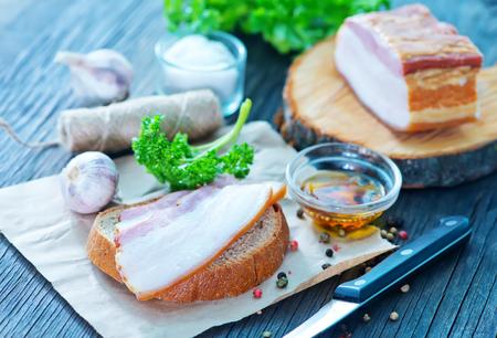 lard: smoked lard with bread with aroma spice