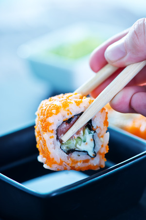 japanese people: fresh sushi on a table, fresh seafood Stock Photo