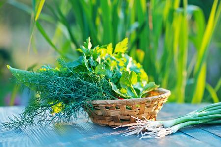 ensalada: hierba de aroma en la mesa de madera, verduras frescas