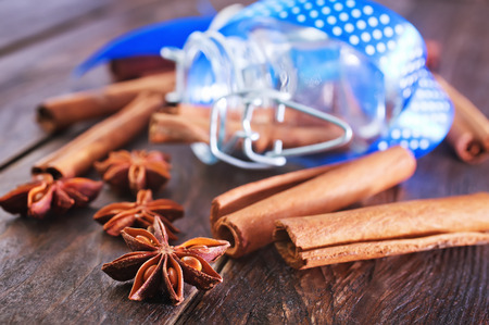 aroma: aroma spice on a table, aroma anise and cinnamon Stock Photo