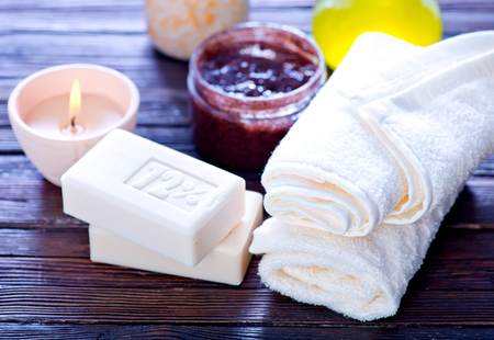 spa objects: spa objects, soap and aroma salt on a table