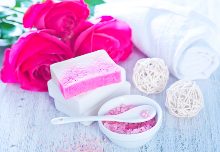 spa objects: spa objects on a table, salt and soap