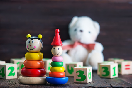 furniture store: baby toys, color baby toys on a table