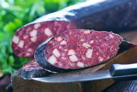 pork sausage: homemade blood sausage with aroma spice and herbs Stock Photo