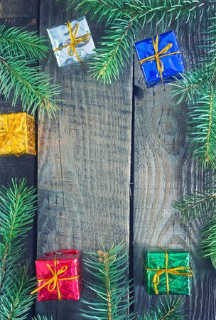 'yule tide': christmas presents an a table, christmas background Stock Photo