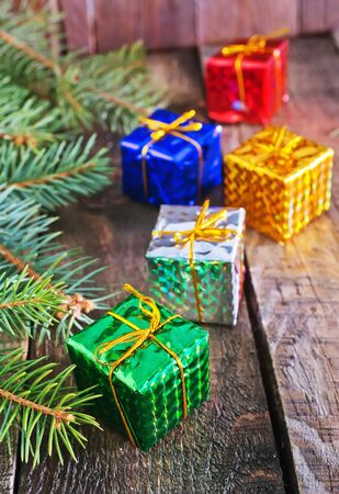 christmas tide: christmas presents an a table, christmas background Stock Photo