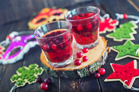 vin chaud: christmas drink in glasses and on a table