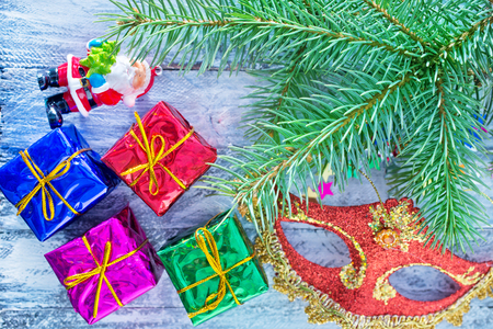 christmas background: christmas presents an a table, christmas background Stock Photo