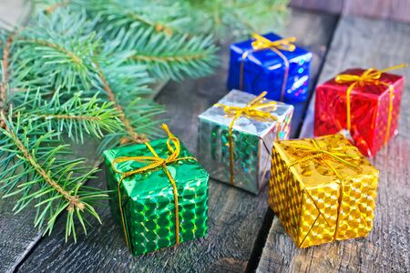 christamas: christmas presents an a table, christmas background Stock Photo