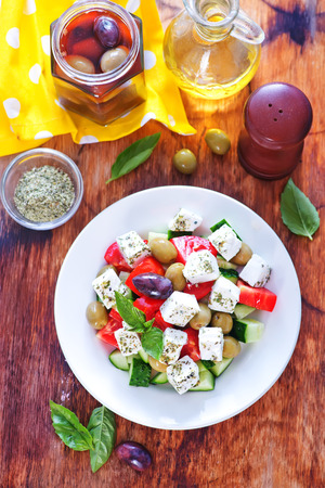 heathy diet: greek salad in plate on a table Stock Photo