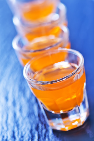 shooter drink: alcohol drink in glasses on a table