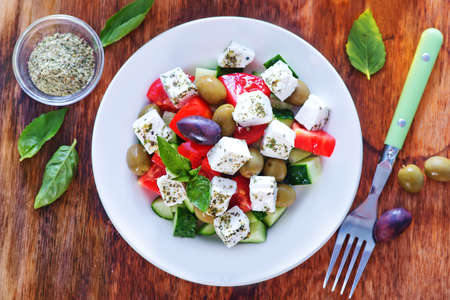 heathy diet: greek salad on a table Stock Photo