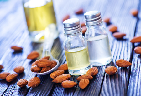 almond oil in bottle on a table