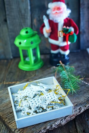 christmas background: christmas decoration on a table, christmas background