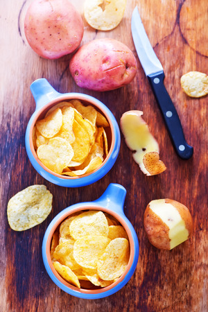titbits: potato chips in bowls and on a table