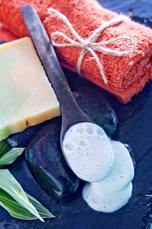 bathsalt: aroma soap and lotion cream on a table