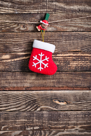 christma: christmas decoration on the wooden table, christma background