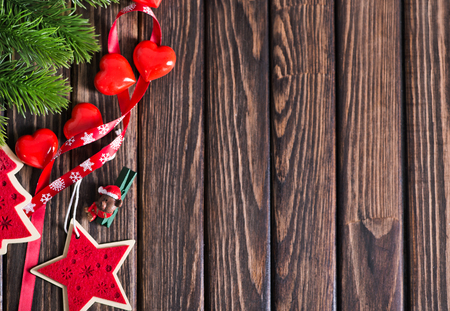 background pattern: christmas decoration on the wooden table, christma background